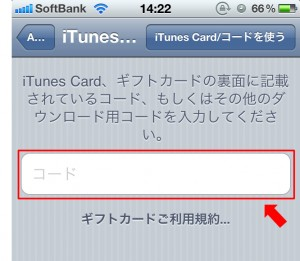 iPhone iTunesコード入力画面